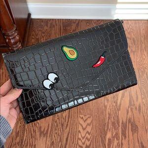 Handbags - VINTAGE dark brown croc envelope clutch bag